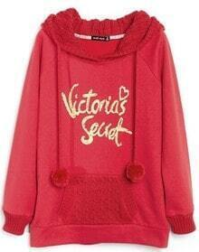 Red Hooded Long Sleeve Letters Print Drawstring Sweatshirt
