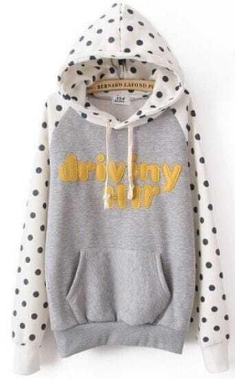 Grey Hooded Long Sleeve Polka Dot Letters Print Sweatshirt