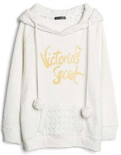 White Hooded Long Sleeve Letters Print Drawstring Sweatshirt