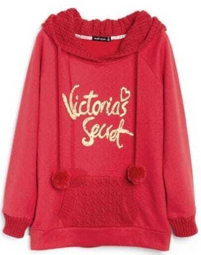 Red Hooded Long Sleeve Letters Print Drawstring Sweatshirt