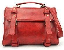 Red Metal Buttons Zipper PU Leather Shoulder Bag