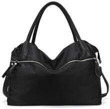 Black Zipper PU Leather Shoulder Bag