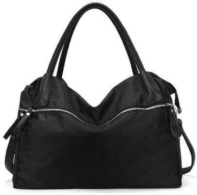 Black Zipper PU Leather Shoulder Bag