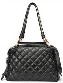 Black Rivet Diaper Pleated Shoulder Bag