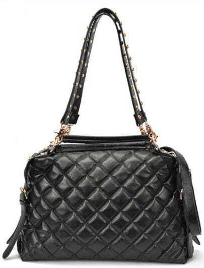 Black Rivet Diaper Pleated Shoulder Bag