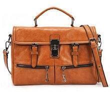 Brown Belt Buckle Zipper PU Leather Shoulder Bag