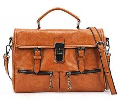 Brown Belt Buckle Zipper PU Leather Shoulder Bag