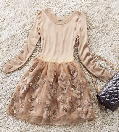 Apricot Round Neck Long Sleeve Embroidery Dress