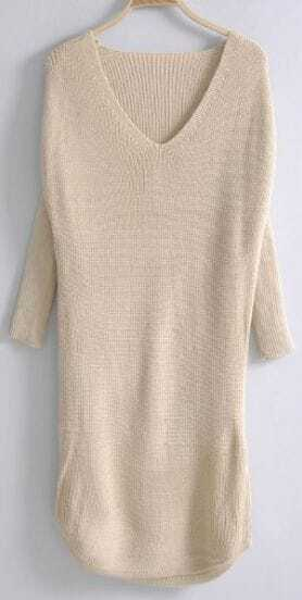 Beige Long Sleeve Mid Waist Loose Sweater Dress