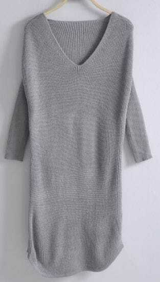 Grey Long Sleeve Mid Waist Loose Sweater Dress