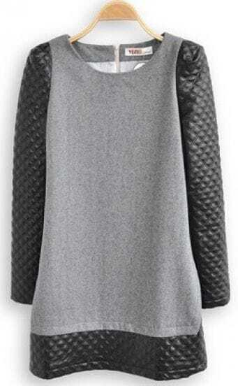 Dark Grey Contrast Leather Long Sleeve Dress