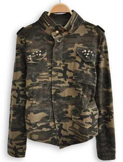 Green Camouflage High Neck Long Sleeve Zipper Coat