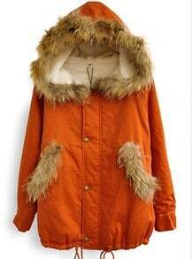 Orange Fur Hooded Long Sleeve Buttons Loose Coat