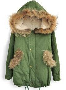 Green Fur Hooded Long Sleeve Buttons Loose Coat