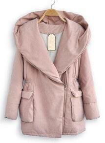 Pink Hooded Long Sleeve Elasic Waist Zipper Coat