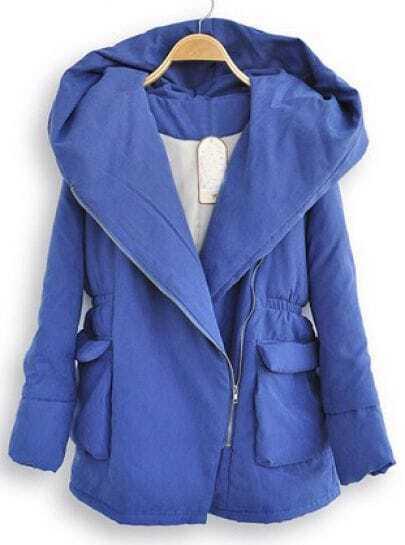 Blue Hooded Long Sleeve Elasic Waist Zipper Coat
