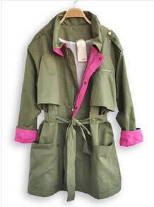 Green Lapel Long Sleeve Drawstring Waist Trench Coat
