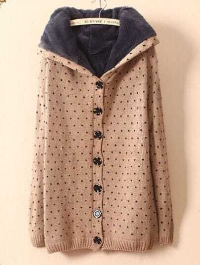Khaki Hooded Long Sleeve Polka Dot Buttons Coat