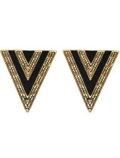Black Triangle Gold Stud Earrings