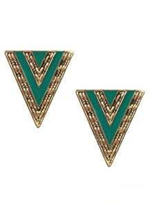 Green Triangle Gold Stud Earrings