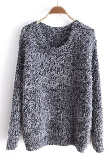 Grey Round Neck Long Sleeve Mohair Pullovers Sweater