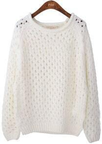 White Round Neck Long Sleeve Hollow Pullovers Sweater