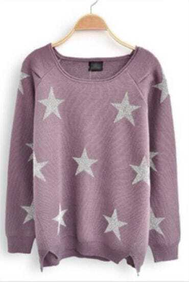 Light Purple Long Sleeve Stars Print Loose Sweater