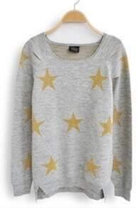 Light Grey Long Sleeve Stars Print Loose Sweater