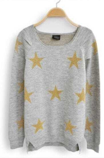 Light Grey Long Sleeve Stars Print Loose Sweater
