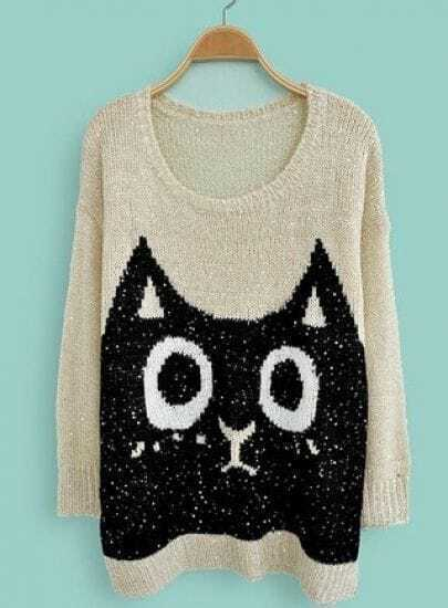 Beige Long Sleeve Sequined Cat Print Loose Sweater