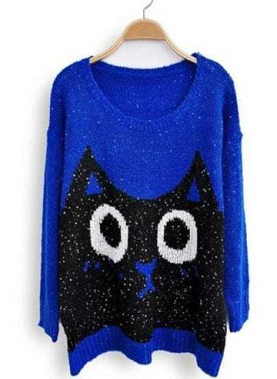 Blue Long Sleeve Sequined Cat Print Loose Sweater