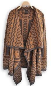 Brown Long Sleeve Geometric Print Cape Sweater