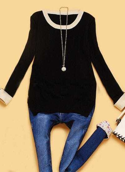 Black Long Sleeve Contrast Trims Pullovers Sweater