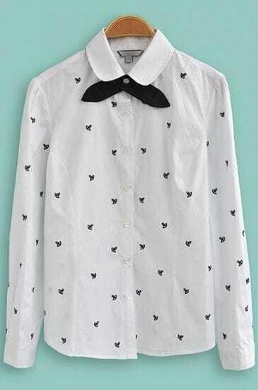 White Lapel Long Sleeve Anchor Print Blouse
