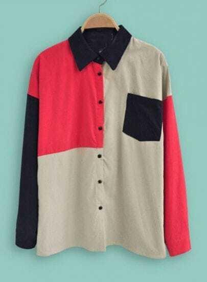 Beige Black Red Lapel Long Sleeve Pocket Blouse