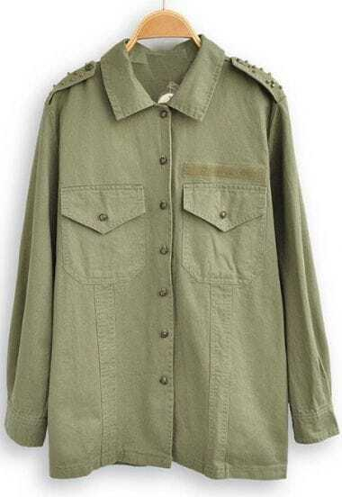 Green Lapel Long Sleeve Rivet Pockets Blouse