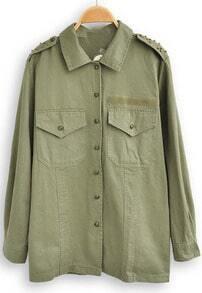 Green Lapel Long Sleeve Rivet Pockets Blouse