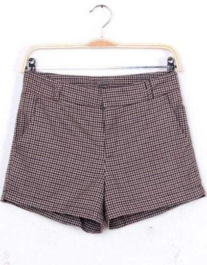 Grey Mid Waist Houndstooth Shorts