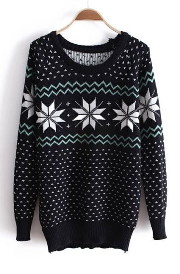 Black Long Sleeve Snowflake Print Loose Sweater