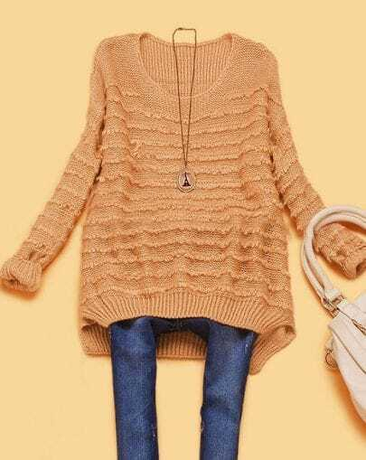 Pink Round Neck Batwing Long Sleeve Striped Sweater