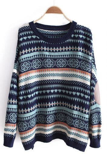Blue Long Sleeve Striped Loose Pullovers Sweater
