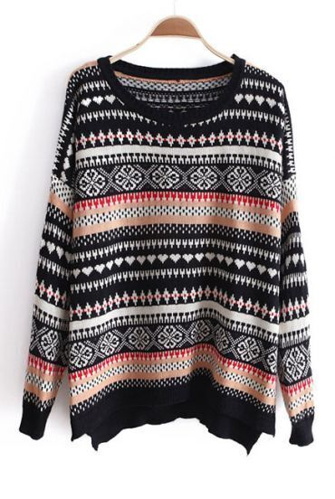 Black Long Sleeve Striped Loose Pullovers Sweater