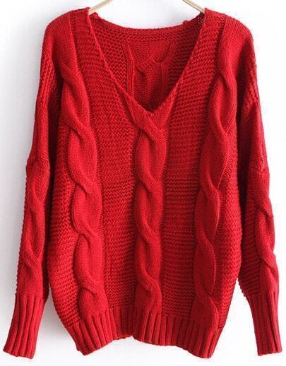 Red Batwing Long Sleeve V-neck Cable Sweater