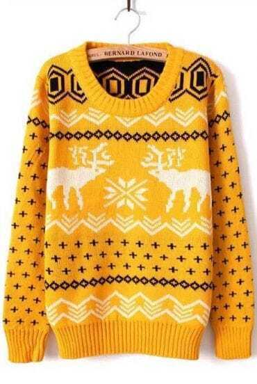 Yellow Long Sleeve Deer Print Loose Pullovers Sweater