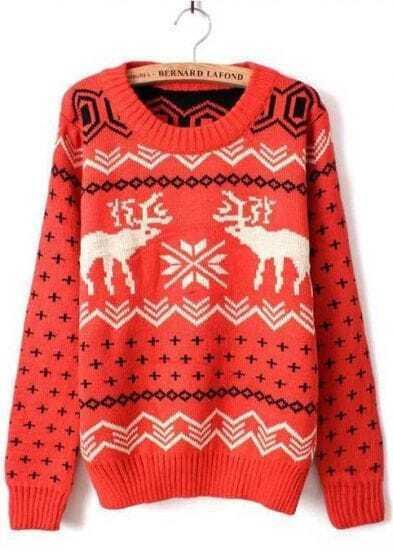 Оранжевый с длинным рукавом печати олени свободный свитер пуловеры