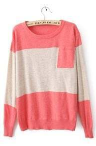 Pink Round Neck Long Sleeve Pocket Embellished Sweater
