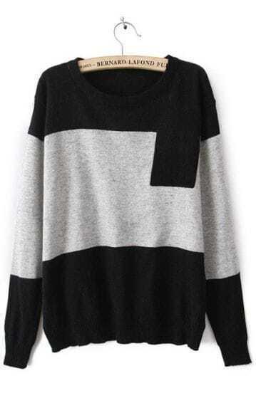 Grey Round Neck Long Sleeve Pocket Embellished Sweater