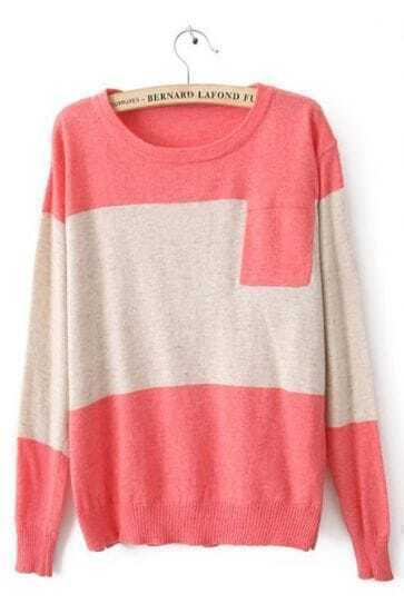 Pink Round Neck Long Sleeve Pocket Embellished Sweater