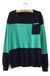 Green Round Neck Long Sleeve Pocket Embellished Sweater