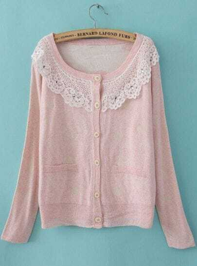 Pink Long Sleeve Lace Lapel Pockets Cardigan Sweater